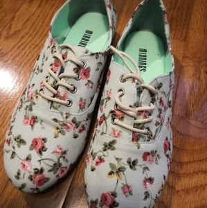 Shoes - Floral print fabric loafer shoes